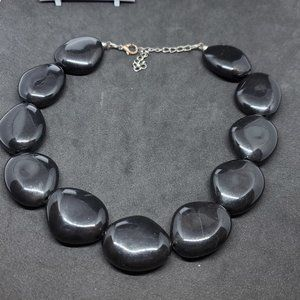 Jewelry - Large Black Plastic Bead Strand Necklace Women 14""
